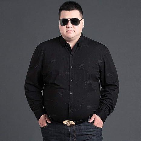 WYTX Camisas Camisa De Manga Larga Camisa De Hombre Plus Fat Plus Size Loose Camiseta De Hombre Negra: Amazon.es: Deportes y aire libre
