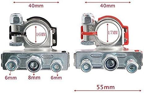 calibre 4//8 bornes de batterie au chrome chrome positif et n/égatif AWG AUTOUTLET 2PCS Borne de la batterie Kit de connecteurs de borne de batterie de voiture