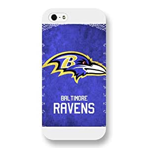Onelee Customized NFL Series Case for iPhone 5 5S, NFL Team Baltimore Ravens Logo iPhone 5 5S Case, Only Fit for Apple iPhone 5 5S (White Frosted Shell) by ruishername