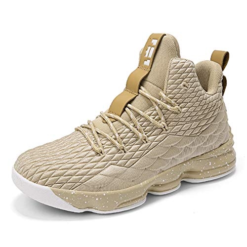COSDN Womens Mens Fashion High-Top Lightweight Basketball Shoes Sports Breathable Running Flyknit Youth Sneakers Size 8/6.5 Gold