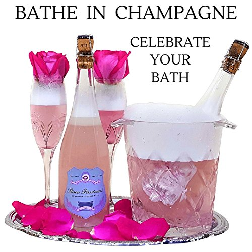 Bubble Bath Bomb. The Best Bubble Bath Gift Set w/ Essential oils & Body Butters. Bathe in Fine Champagne with this Topshelf Unique Gift from BISOU PASSIONNE (Rose)