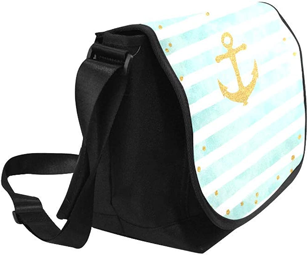 InterestPrint Nautical Anchor Mens Womens Messenger Bag Crossbody Shoulder Bags for School Traveling Black