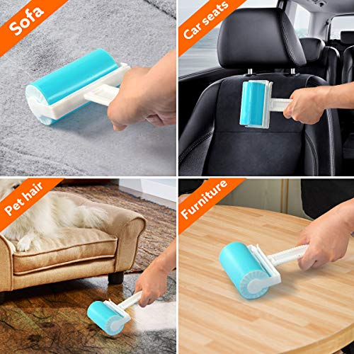 Lint Roller, Resuable & Washable Lint Roller, Pet Hair Remover Lint Roller Cleaner for Clothes, Bed, Sofa, Carpet, Car Seats, Large/Small Size with Cover(3 Pack)