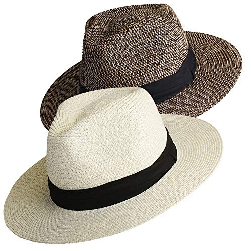 (Womens Mens Wide Brim Straw Panama Hat Fedora Summer Beach Sun Hat UPF)
