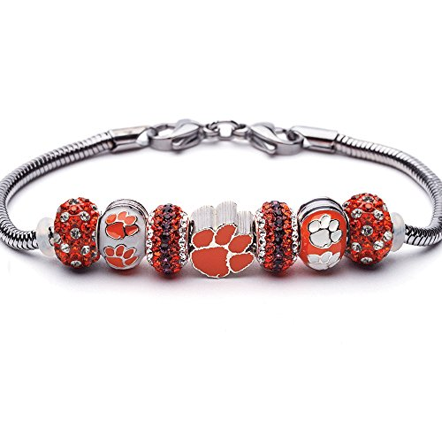 (Clemson Tigers Charm Bracelet | Clemson University Bracelet | Stainless Steel Clemson Jewelry | Clemson Tigers Gifts| Officially Licensed by Clemson University )