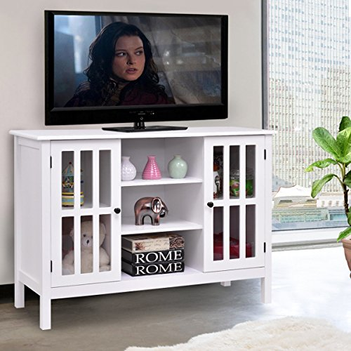 Tangkula Wood TV Stand Storage Console Free Standing Cabinet Holds Up To A 45