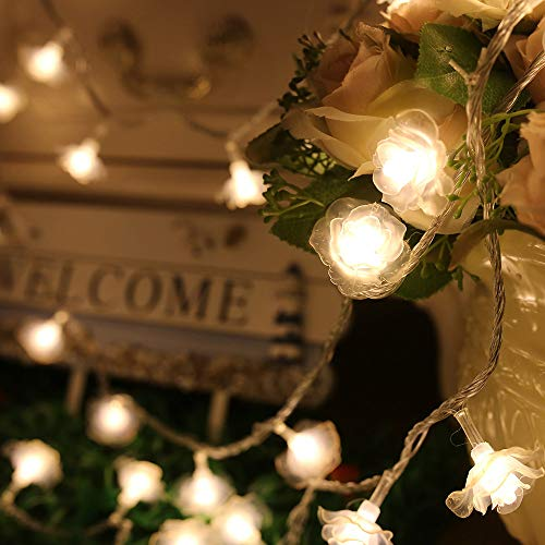 -  AIUSD Clearance , Battery Operated 10 ft 20 LED White Crystal Rose Flower Lights Home Decoration