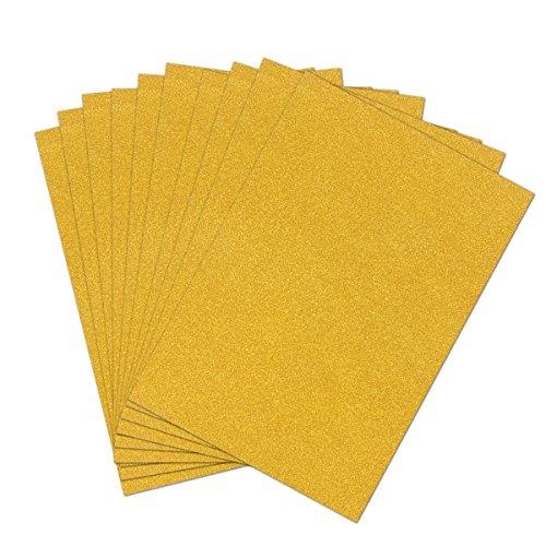 Craftwork Cards - ULTNICE 10pcs Glitter Cardstock Paper Sparkle A4 Card for Diy Craftwork (Gold)