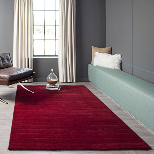 Momeni Rugs METROMT-23RED80B0 Metro Collection, 100% Wool Hand Loomed Contemporary Area Rug, 8' x 11', Red ()