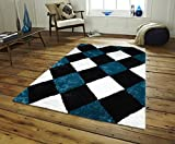 All New Contemporary Diamond Checkered Design Shag Rugs by Rug Deal Plus (5' x 7', Blue/Black/White)