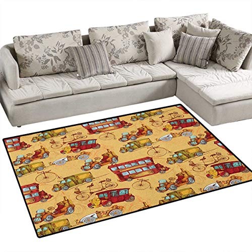 (Cars,Floor Mat,Steampunk Inspired Vintage Means of Transportation Colorful Retro Design,Rugs for Bedroom,Mustard Red Olive Green Size:40