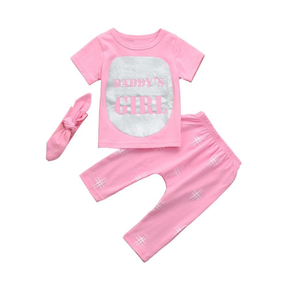 ❤️Ropa Bebe Niño Otoño Tefamore Camiseta de Manga Corta Alfabeto bebé Camiseta + Pantalones de Impresión geométrica Traje de Tres Piezas Tefamore Ropa para niños