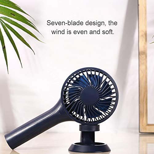 USB Fan YXC D6 Portable Mini USB Charging Handheld Small Fan with 3 Speed Control Color : Blue Dark Blue