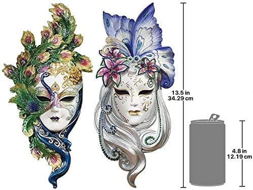Design Toscano Peacock Feathers and Butterfly Wings Masks of Venice Wall Sculptures Polyresin, Set of 2, 13 , Full Color