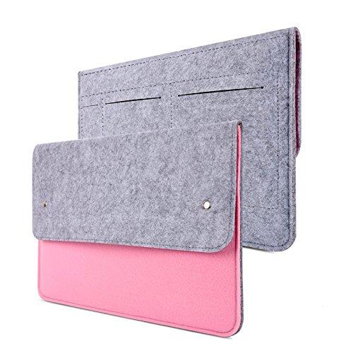 YESSBON 13,3 Zoll Macbook Air/Pro Retina Schönem Filz Sleeve Filztasche Hülle Ultrabook Laptop Tasche Notebook-Taschen Speziell für 13,3 Apple Macbook Pro Retina und Macbook Air Zoll entworfen (Grau Pinke)