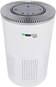 OdorStop HEPA Air Purifier with H13 HEPA Filter, UV Light, Active Carbon, Multi-Speed, Sleep Mode and Timer (Bright White, Standard Model)