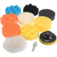 JSAuto Set de 11 Kit de Almohadillas de Esponja para pulir de Taladro Compuesto de 3 Pulgadas para lijar, pulir, encerar…