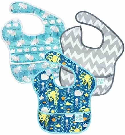 Bumkins Baby Bib, Waterproof SuperBib 3 Pack, B90 (Whales/Sea Friends/Gray Chevron) (6-24 Months)