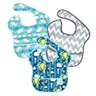 Bumkins Waterproof SuperBib 3 Pack, Boy (B90-Whales/Sea Friends/Gray Chevron) (6-24 Months)