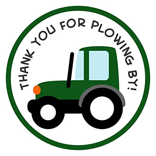 Green Tractor Truck Thank You Sticker Labels - Farm Boy Kid Birthday Party Favor Labels - Set of 30