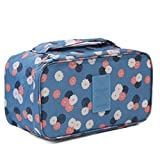 Lovely Blue Flower Portable Large Capacity Travel Cosmetic Bag