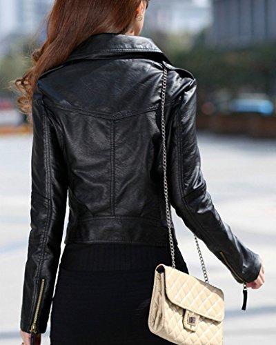 Negro Minetom Corto Bomber Moda Outwear Jackets Mujer Cuero Chaquetas Otoño Motocicleta Pu Primavera Coats Biker rx0wrzaq6