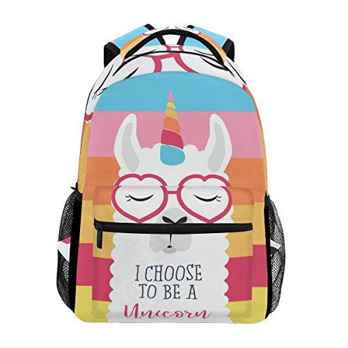b6aac6de8b School Backpacks Cute Fluffy Unicorn Llama Student Backpack Big for Girls  Kids