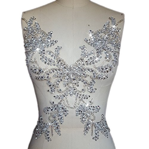 Unique Pure Handmade Sew on Rhinestones Sequins Beads Applique Crystals Patches 15.3x11.4 inches Dress Accessory,Sewing Crastal For Evening Dress (white) (Sequin Applique)