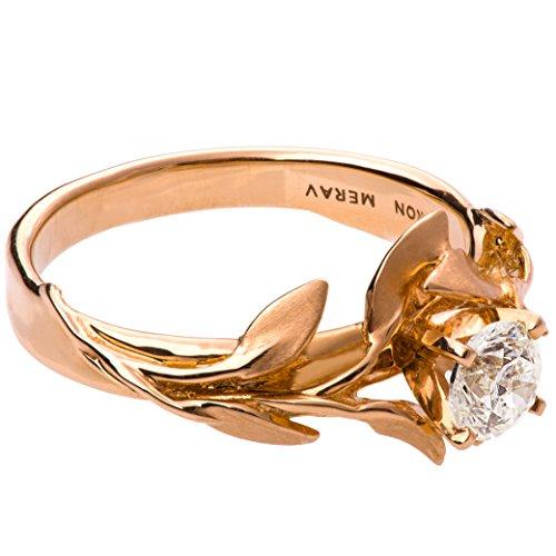 Leaves 18k Rose Gold Engagement Ring For Women Leaf Moissanite Charles& Colvard Forever One Solitaire Unique by Doron Merav
