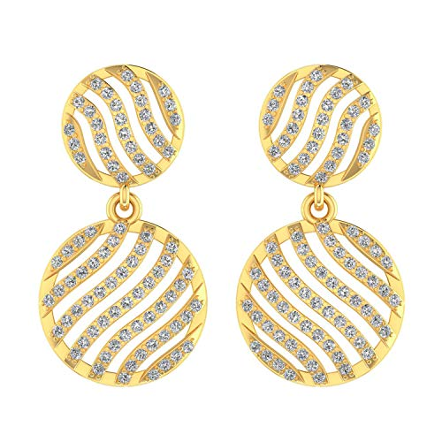 ASHNE JEWELS IGI Certified 0.66 Carat Round-Shape Natural Diamond (G-H Color, I1-I2 Clarity) 14K Yellow Gold Drop and Dangle Earrings For Women