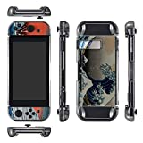 eXtremeRate Protective Crystal-Black Case for Nintendo Switch Console and Joy-Con (with Great Wave Skin Decal & Screen Protector)