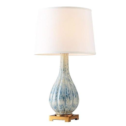 LERSS Lámpara de mesa tradicional azul Lámpara de cerámica, metal ...