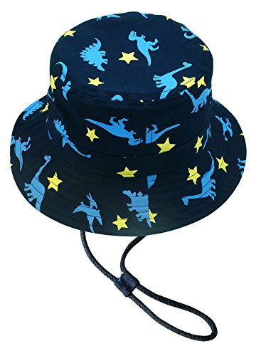 Children's Cute Bucket Hat, Wide Brim Sports Outdoor Beach Cap with Dinosaur Pattern for Spring Summer Holiday Trip, Sun Protection Sun Cap with Chin Strap 5+ yrs(head circumference: (Holiday Bucket)