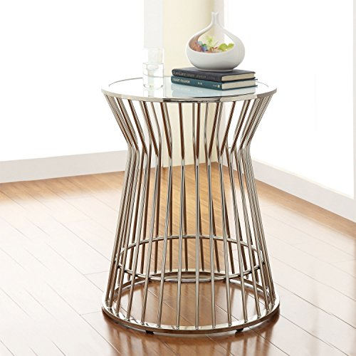 (ModHaus Living Mid Century Modern Platner Style Chrome Silver Metal Accent Stool Side End Table with Frosted Glass Top Includes (TM) Pen)
