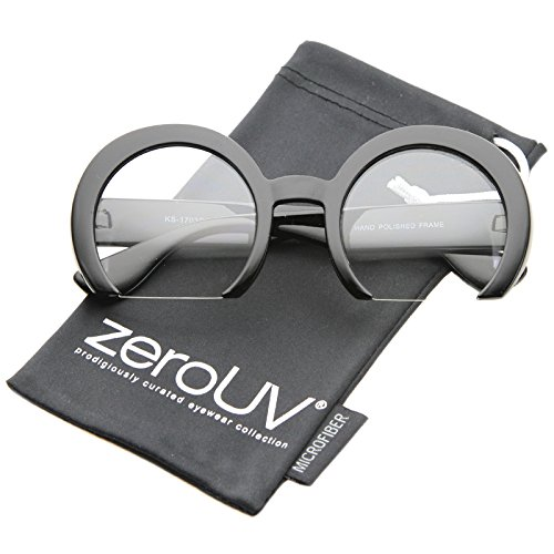 zeroUV - Women's Oversize Semi-Rimless Flat Bottom Clear Lens Round Glasses 56mm - Glasses Semi Round