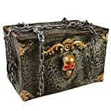 Halloween Haunters Animated Screaming Moving Rolling Pirates Skeleton Chest with Chains Prop Decoration - Skull Eyes Strobe, Ghost Coffin Box - Battery Operated