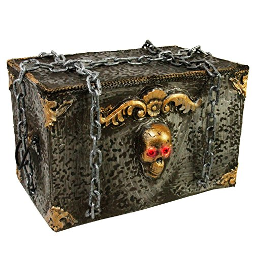 Halloween Haunters Animated Screaming Moving Rolling Pirates Skeleton Chest with Chains Prop Decoration - Skull Eyes Strobe, Ghost Coffin Box - Battery Operated by Halloween Haunters
