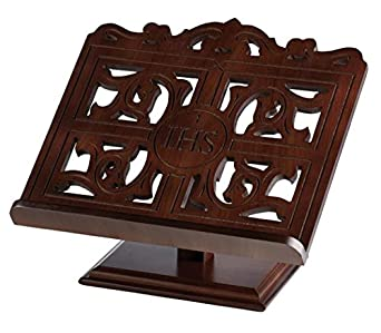 Carved Wood IHS Bible or Book Display Stand with Ledge, Walnut, 14 Inch