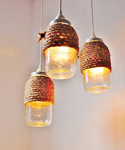 The Hive Mason Jar Pendant Lights, Set Of 3 by BootsNGus