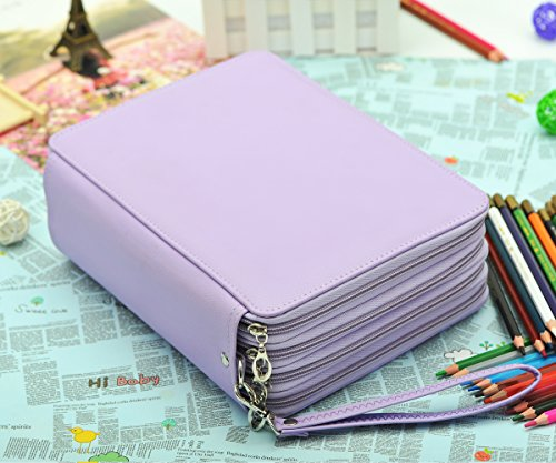 YOUNGCOL 184 Slot Colored Pencil Case - Deluxe PU Leather Pencil Holder Organizer(Purple)