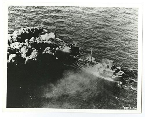 World War II - Vintage Publication 8x10 Photograph - Burning American Tanker American Tanker