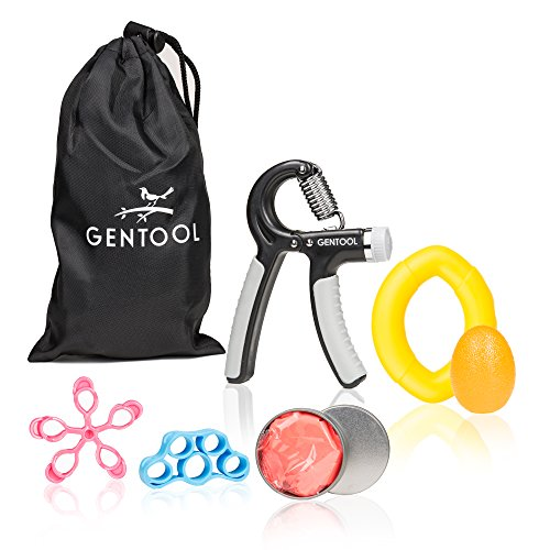 Gentool Hand Grip Strengthener Workout Set : Adjustable Resistance Hand Strengthener, Finger Exerciser, Finger Stretcher, Grip Ring, Hand Grip Ball and Therapy Putty + (6 Tool Beginner Set)