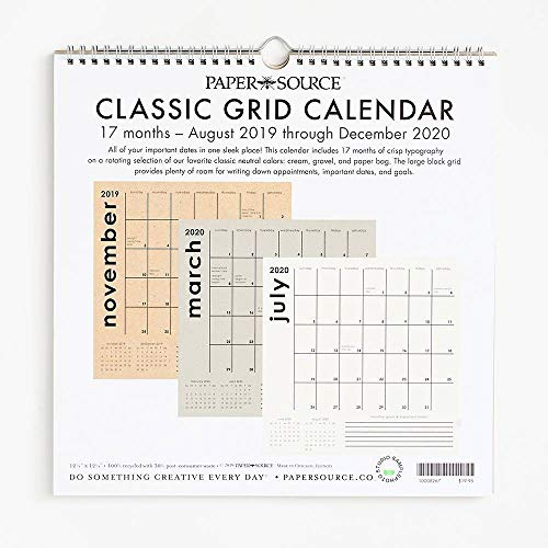 2019-2020 Classic Grid Calendar (Paper Source Wall Calendar)