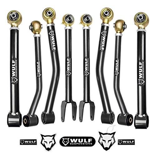 WULF Front/Rear Upper/Lower Adj Lift Control Arms Kit For 2007-2017 Jeep JK JKU Wrangler 4WD