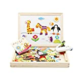 Hysagtek Magnetic Puzzle Game Toy Set Wooden Double Side Drawing Writing Board Multifunctional Toys Gifts for Boys Girls