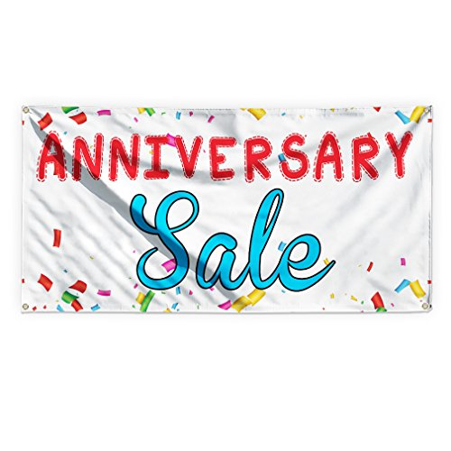 Anniversary Sale #1 Outdoor Advertising Printing Vinyl Banner Sign With Grommets - 3ftx6ft, 6 Grommets by Sign Destination