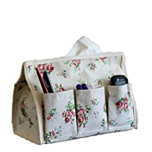 Cotton And Hemp Floral Tissue Paper Holde With Organizer Storage Bag