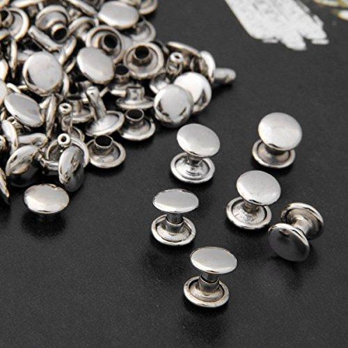 Vikeva 100 9mm Silver Copper Round Flat Rapid Rivets Studs Punk for Bag Shoes Bracelet