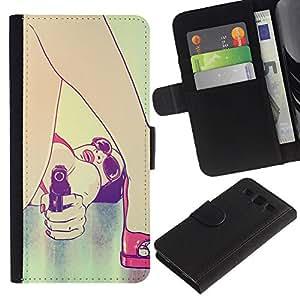 "SAMSUNG Galaxy S3 III / i9300 / i747 , la tarjeta de Crédito Slots PU Funda de cuero Monedero caso cubierta de piel ("" Bikini Woman Sunglasses Art Gun Red Lips Sexy"")"
