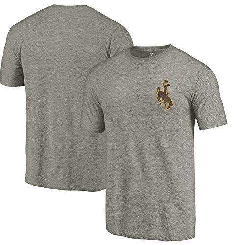Fanatics Branded Wyoming Cowboys Left Chest Distressed Logo Tri-Blend T-Shirt - Gray Heathered (3XL)